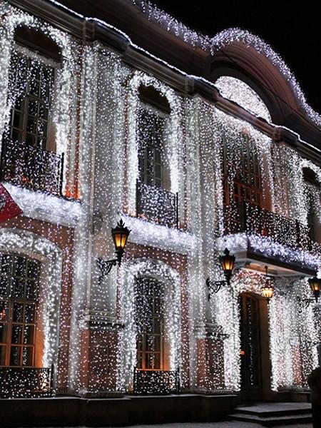 """Уличный занавес (плей-лайт) """"Дождь"""" 2 х 1.5 м на белом проводе. Белый с флеш-эффектом"""
