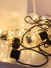 Светодиодная гирлянда - белт-лайт лампы 60мм с серебряными нитями. Цвет тепло-белый