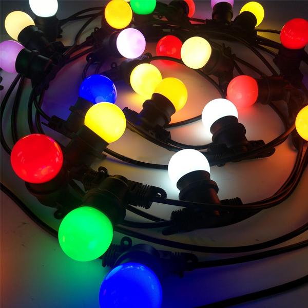 Светодиодная  гирлянда - белт-лайт с лампами 50мм на РЕЗИНОВОМ проводе. Мульти