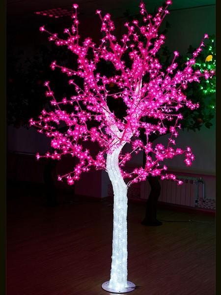 """Световое дерево """"""""CRYSTAL"""" 2,5м 1110 диодов, акриловый световой ствол. Розовое"""