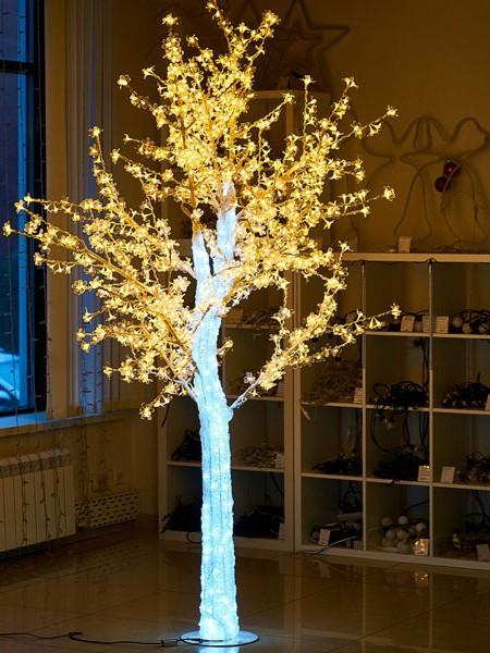"""Световое дерево """"""""CRYSTAL"""" 2,5м 1110 диодов, акриловый световой ствол. Желтое"""