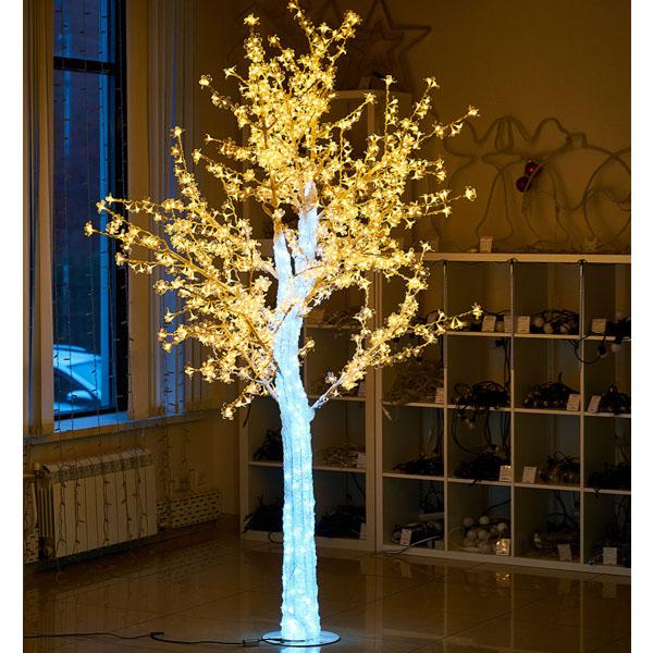 """Световое дерево """"""""CRYSTAL"""" 2,5м 1110 диодов, акриловый световой ствол. Тепло-белое"""