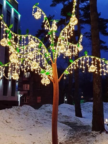 Эксклюзивное световое дерево -  Волшебная яблоня с золотыми яблоками, 4х4м