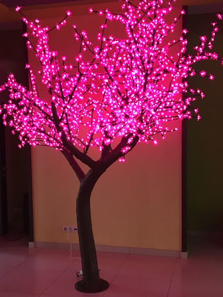 Сакура 3м 2400 светодиодов. Розовая