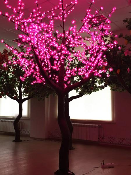 Сакура 2,5м 1280 светодиодов. Розовая