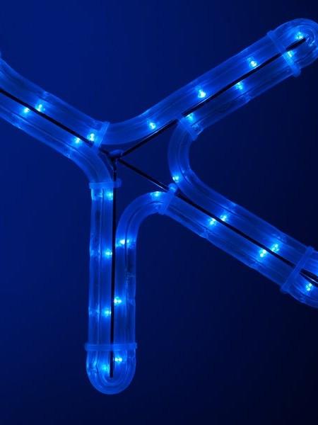 """Светодиодный мотив """"Снежинка"""" с флеш-эффектом 46х46 см. Синяя"""