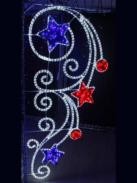 """Световой мотив подвесной """"Два красных шара, синие и красные звезды"""""""
