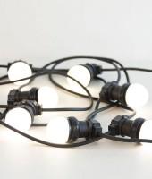 Светодиодная гирлянда - резиновый белт-лайт с молочными лампами 50мм. Цвет белый