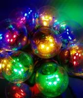 """Гирлянда белт-лайт """"Гэлэкси"""" на SMD диодах на РЕЗИНОВОМ проводе. Лампы 50мм. Цвет мульти"""