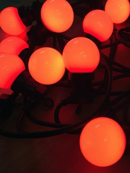 Светодиодная программируемая гирлянда RGB - белт-лайт с лампами 50мм с пультом ДУ 30м