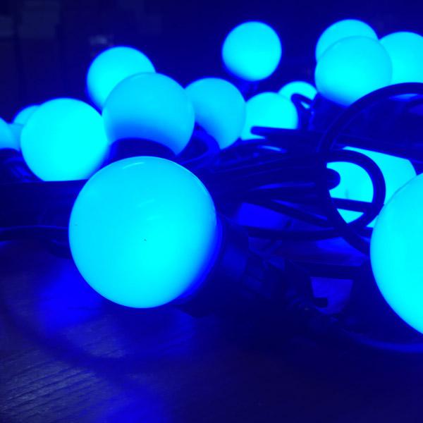 Светодиодная программируемая гирлянда RGB - белт-лайт с лампами 50мм с пультом ДУ 20м