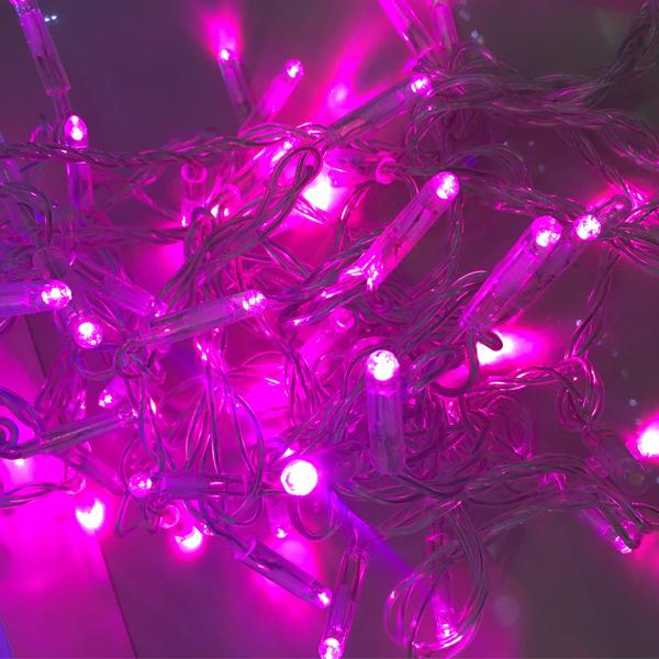 Гирлянда 10м с флеш-эффектом с повышенной степенью защиты. Розовая