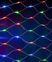 Светодиодная сеть 2.5 х 1.2 м на прозрачном проводе. Мульти