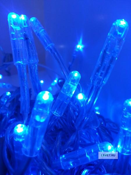 Гирлянда 10м с флеш-эффектом с повышенной степенью защиты. Синяя