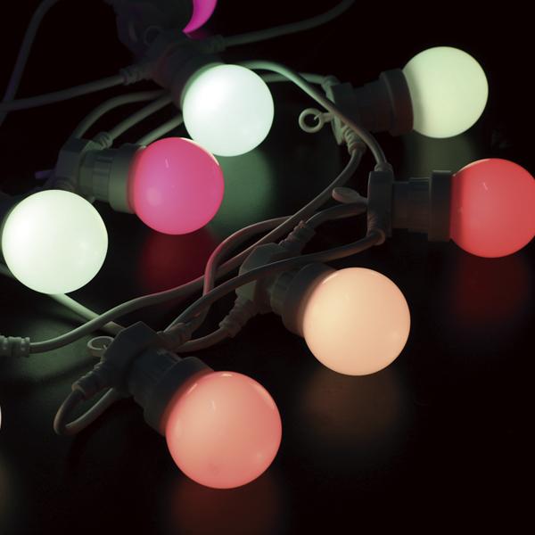 Светодиодная программируемая гирлянда RGB - белт-лайт с лампами 50мм с пультом ДУ 10м