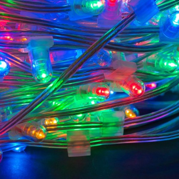 Разноцветный клип лайт для деревьев: любая длина, повышенная степень защиты