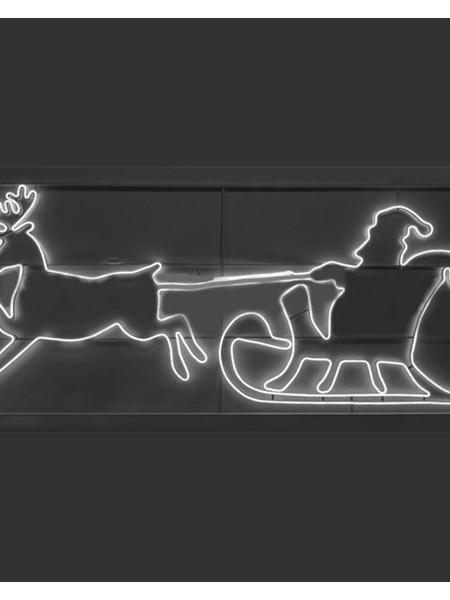 """Светодиодный мотив """"Дед Мороз в оленьей упряжке"""", 2,9*1,2м"""