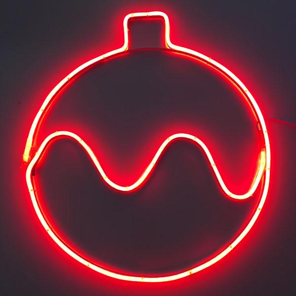 """Светодиодный двухсторонний неоновый мотив """"Новогодний шар"""" d=55см. Красный"""