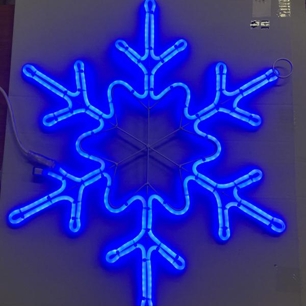 """Светодиодный двухсторонний неоновый мотив """"Снежинка"""" 67х54 см. Синяя"""