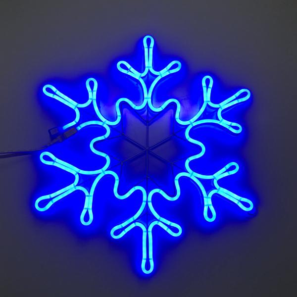 """Светодиодный двухсторонний неоновый мотив """"Снежинка"""" 49х42 см. Синяя"""