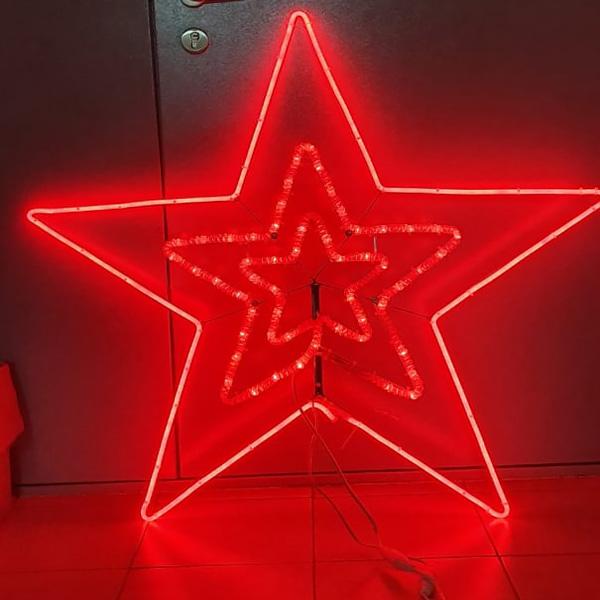 Световая красная двухсторонняя звезда для елок с ножкой, 107см*107см