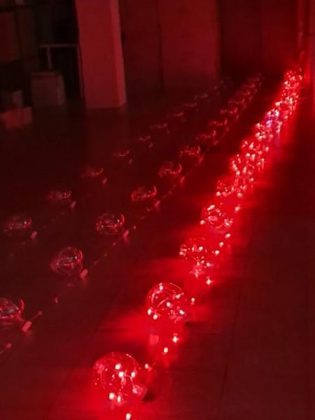 Перетяжка 12В на прозрачном проводе: 10м, 12 шаров, d=180мм, красный