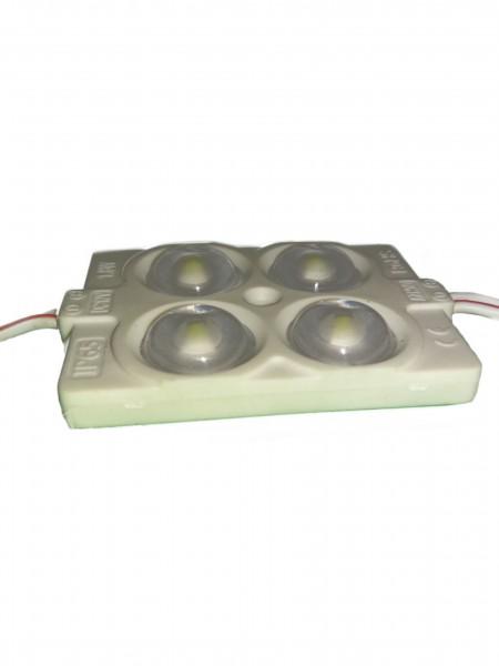 Светодиодный модуль с линзой 4 диода SMD 2835 белый