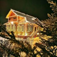 Подсветка контура здания гирляндами